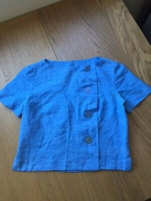 Vintage 1960s Cropped Blue Blouse Top with Buttons Mad Men