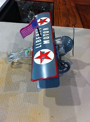 """Vintage glass candy container """"LIBERTY MOTOR AIRPLANE"""" clear glass"""