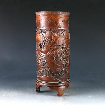 Chinese Bamboo Handwork Carved  Pine Tree & House Brush Pot DY0514