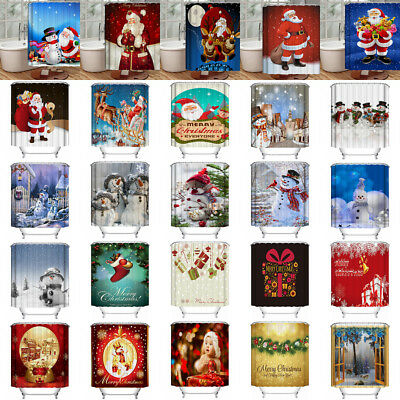 Christmas 30 Styles Xmas 3D Printed Bathroom Waterproof Shower Curtain Decor