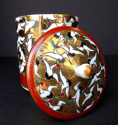 Kutani 1000 Cranes Hand Painted 24kt Gold Tea Cup with Matching Lid