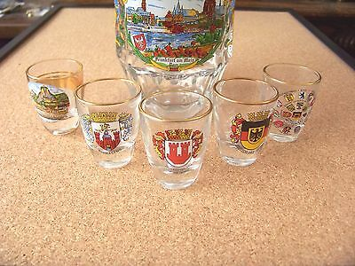 Germany glass beer stein and 5 shot glasses Deutschland