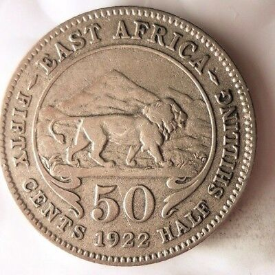 1924 BRITISH EAST AFRICA 50 CENTS - Rare Colonial Silver Coin - Lot #917