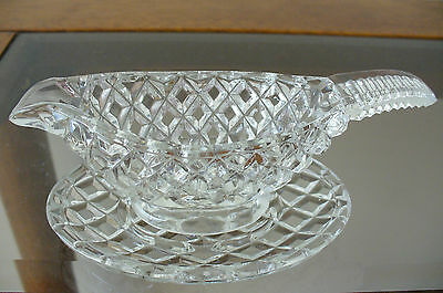 Vintage Clear Pressed Glass Sauce Boat & Base Very Good Condition