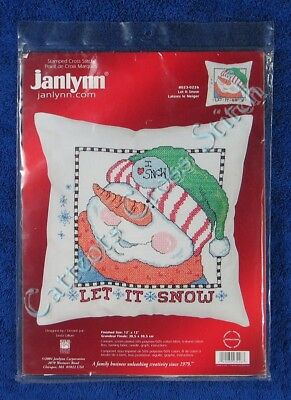 "Stamped Cross Stitch Let It Snow Pillow Top Snowman 12"" x 12"""