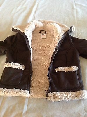 kids bomber pilot jacket coat leather look sherpa faux fur size 5-6