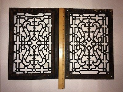 Match Pair Antique Cast Iron Heat Floor Register Grate Cover 16x11 Gothic Design