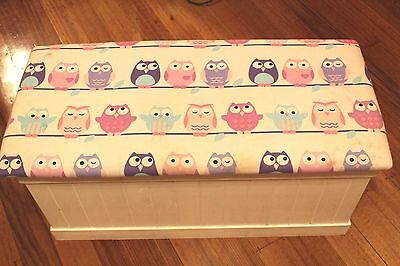 Children's kid's Wooden Wood toy box toy chest owl fabric cushion covered lid