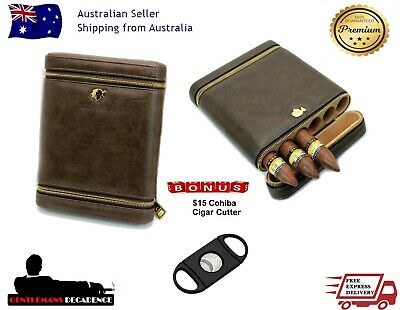 Cohiba Brown Leather 6 Tube Cigar Travel Case Spanish Cedar Lined Travel Humidor