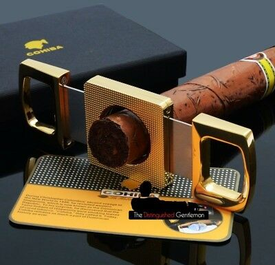 COHIBA 24k GOLD PLATED RAZOR SHARP PRECISION GUILLOTINE CIGAR CUTTER SCISSORS