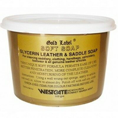 Gold Label Glycerin Leather & Saddle Soap 500gm Pony Horse Care & Grooming softs