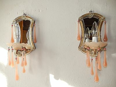 ~c 1920 French PINK OPALINE Beaded Drops & Beads Murano Mirrors Crystal Sconces~