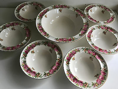 7pce set royal doulton 1936 Roses & Wattle D5643 dessert set salad set england
