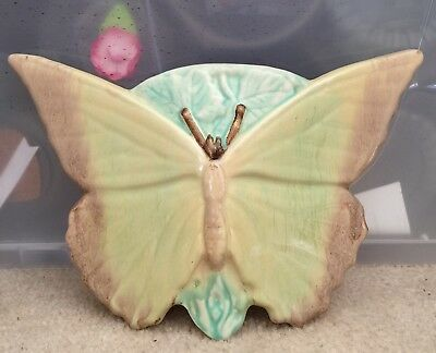 Vintage Ceramic Butterfly  Wall Pocket Vase