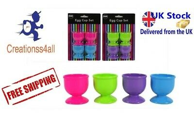 4 Egg Cups Sets in 2 Assorted Colours Pink/Blue