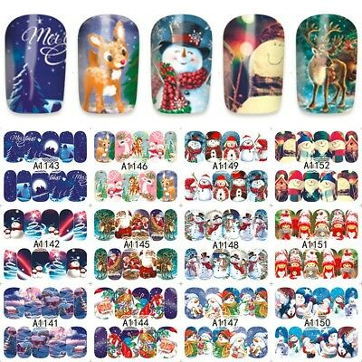 Nail Art Stickers Decals Transfers Snowmen Christmas Xmas Collection