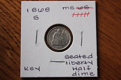1868-S  Key   Unc+++ Seated Liberty Half Dime
