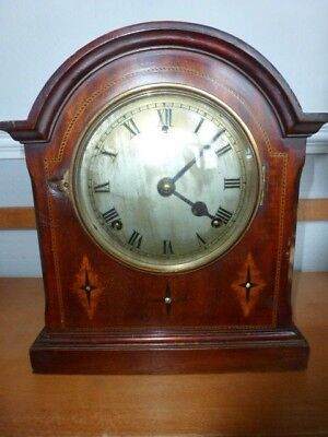 Large Wood Mantel Clock - Dome Top With Inlay