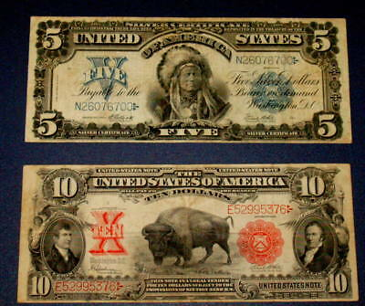 Two NICE 1899 INDIAN CHIEF $5 and 1901 BISON $10 Ten Dollar Large Note Currency