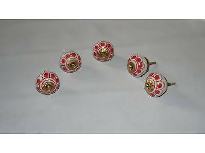 5 pcS RED&WHITE Ceramic Cupboard Cabinet Door Knobs Drawer Pulls knobS