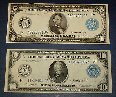 Two 1914 Lincoln $5 and Jackson $10 Dollar Blue Seal Large NOTE FR 847a & 939