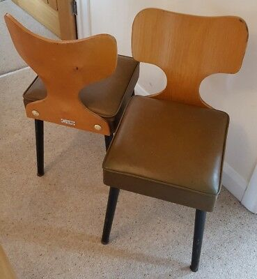 two H FIELDMAN designer dining chairs vintage retro 1960s 70s