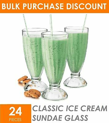 24 x 350ml Classic Ice Cream Sundae Glasses Milkshake Cup Smoothie Dessert Glass
