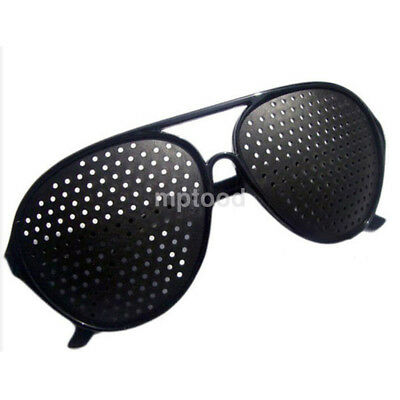 Eyesight Improvement Vision Care Exercise Eyewear Pinhole Glasses Training Black