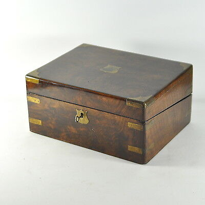 Victorian C19Th Walnut Writing Slope Brass Mounts Jewellery Trinket Box