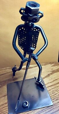Hockey Man Nuts and Bolts Sculpture Figurine, Hand Welded Metal Folk Art Mancave