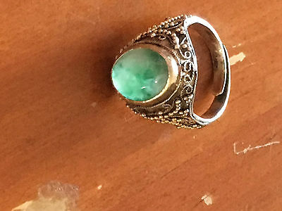 Antique Chinese Jade Silver  Adjustable  Ring