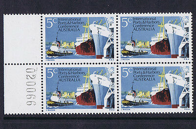 Australian Decimal Stamps 1969 5c Ports / Harbours MNH Block 4 with SHEET NUMBER