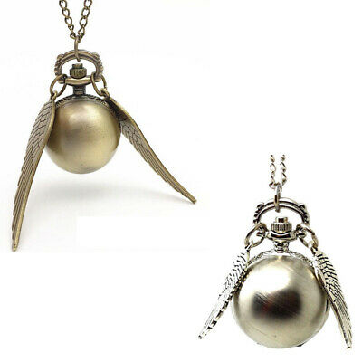 NEW Harry Potter Pocket Watch Golden Snitch Vintage Necklace Watch Gift in box