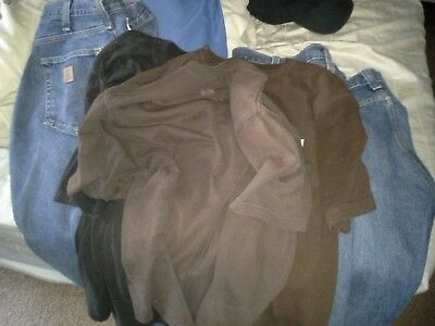 Lot Of Used Carhartt Work Clothes; T Shirts, Jeans & Belt