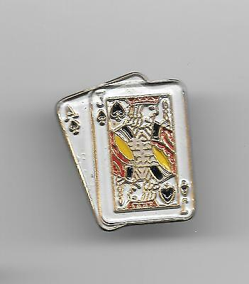 Vintage Blackjack Hand in Spades small old enamel pin