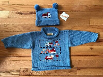 Claver Sweater - 18m - Blue - Trucks - New with Hat