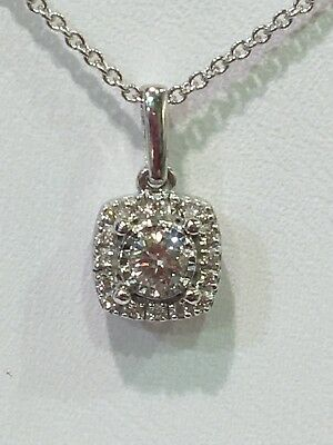 9ct White Gold Diamond Pendant With FREE 14KT White Gold Chain
