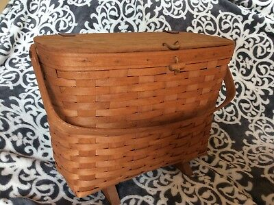 Longaberger Footed Magazine Basket with Lid 1989