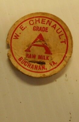 Vintage Rough But Rare W E Chenault Raw Milk Bottle Cap Lid Buchanan Va