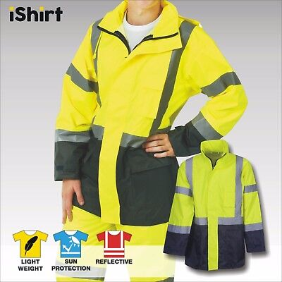 Hi Vis Rain Jacket Waterproof Rain Coat Reflective Tape Safety Workwear