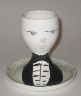 MAN Black BOW Tie TUXEDO Vintage ARNART JAPAN Pottery EGG CUP w/Attached SAUCER