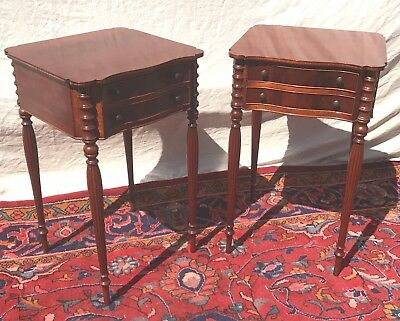 Ultra Fine Quality Pair Of Sheraton Inlaid Mahogany Nightstands-Our Very Best!