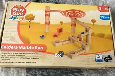 Cascade Marble Run With 6 Glass Marbles.29 Pieces Playtive Junior 3-10y.