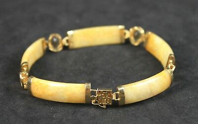 Vintage Chinese 14K Gold With Jadeite Bracelet