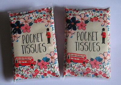 Wallet Style White Pocket Tissues - I Love London Floral Design x 2 Packets.