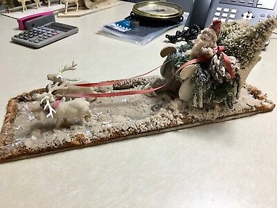 Antique Santa with Reindeer and Sleigh