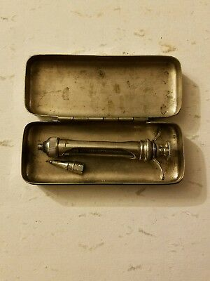 antique medical syringe case nickel silver surgery