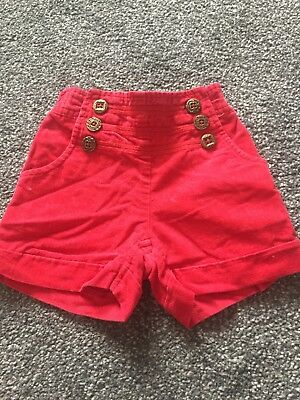 Girls Red Shorts Age 12-18 Months