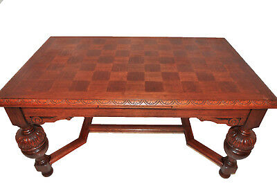 French Tudor Dining Table, Parquet Top, circa 1940-50's