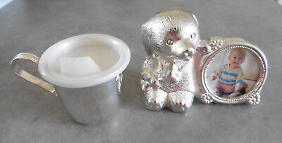Silver Plated Baby Feeder Cup and Silver Plated Puppy money Box.